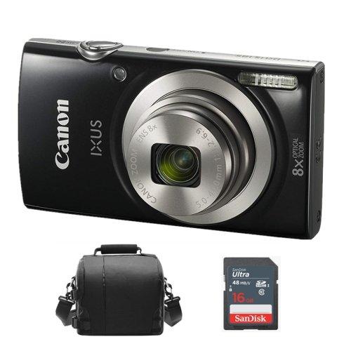 CANON IXUS 185 Black + Camera Bag + 16GB SD card