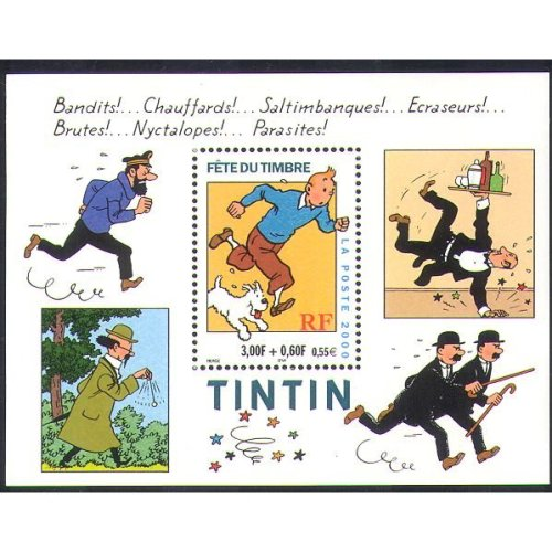 France 2000 Tintin/ Dog/ Cartoons/ Animation/ Herge/ Stamp Day/ CAnimals 1v m/s n36438
