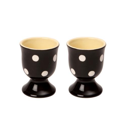 Dexam Set of 2 Polka Dot Egg Cups, Black