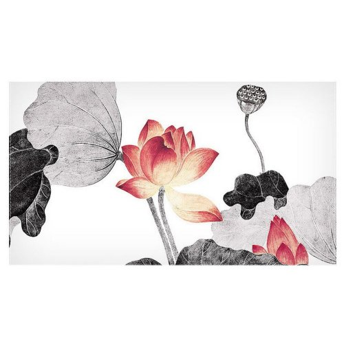 Home Creative 50-Inch TV Cloth Decorative Dustproof Cover, Ink-colored Lotus