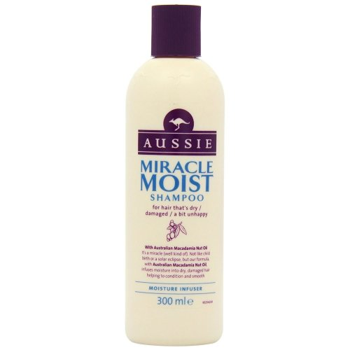Aussie Shampoo Miracle Moist Dry Damaged Hair Smoothen Macadamia Nut Oil 300ml