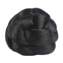 Elegant Hair Bun Extension Braided Wigs Hair Bun For Bride/Cosplayer, Black