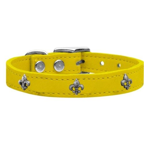Mirage Pet 83-67 Yw16 Silver Fleur De Lis Widget Genuine Leather Dog Collar, Yellow - Size 16