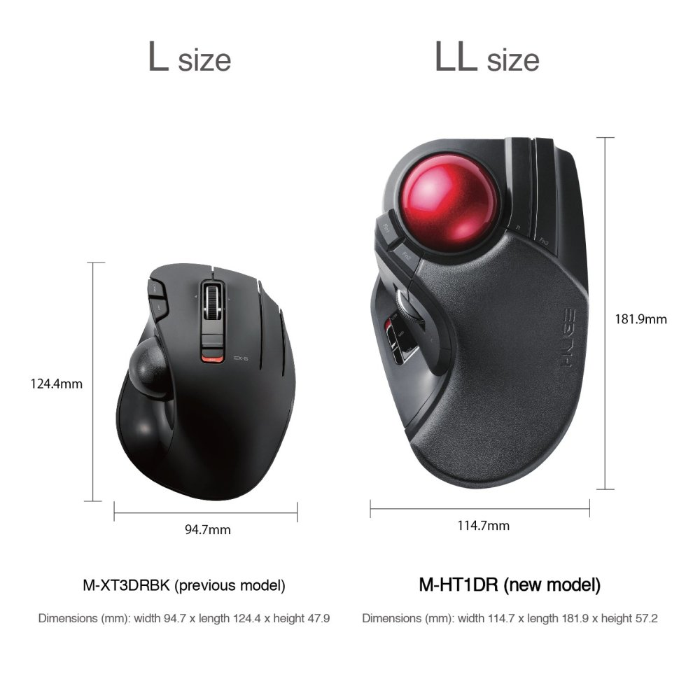 61fbe42ee0b ... ELECOM M-HT1DRBK Wireless Trackball Mouse - Extra Large Ergonomic  Design, ...