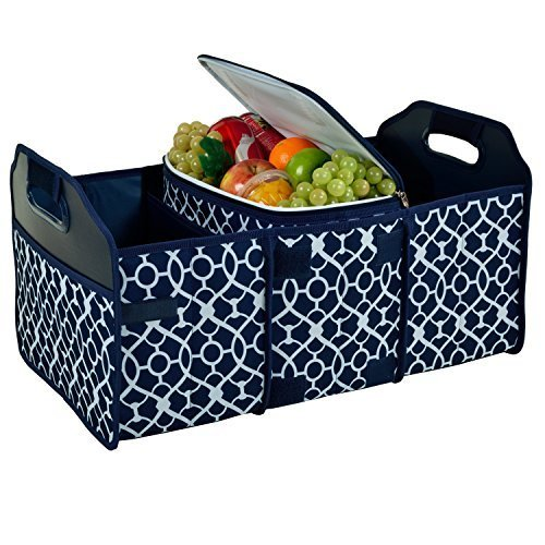 Original Folding Trunk Organizer with Cooler by Picnic at Ascot Trellis Blue
