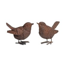 Pair of Detailed Resin Wren Bird Ornaments for Home or Garden