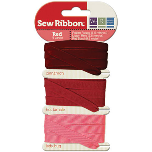 """We R Memory Keepers Sew Ribbon .375""""X6yds-Red"""