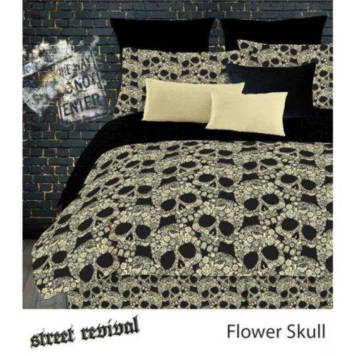 FLOWER SKULLS 736425439940 FLOWER SKULLS COMFORTER SET - BLACK-TAN