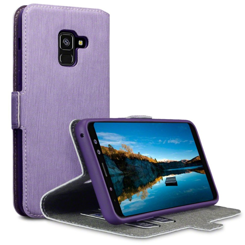 TERRAPIN 2018 Galaxy A8 Case Samsung Galaxy A8 2018 Leather Case Wallet Flip Cover - Ultra Slim Fit - Viewing Stand - Card Slots - Purple on OnBuy