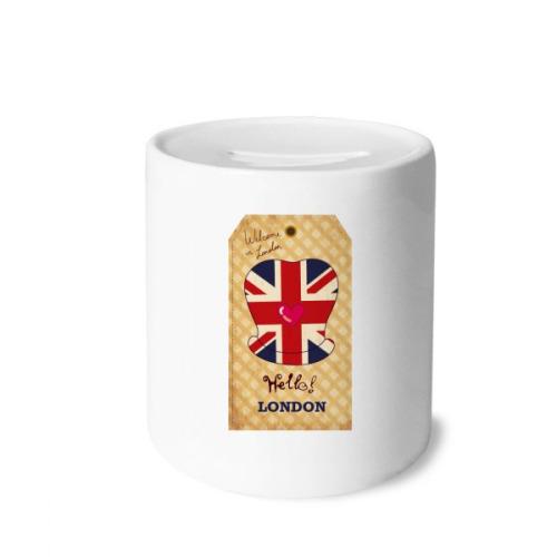 Formal hat UK London Stamp Britain Money Box Saving Banks Ceramic Coin Case Kids Adults