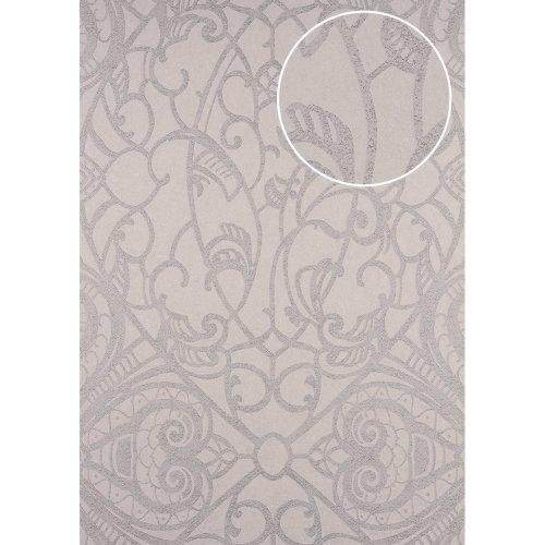 ATLAS CLA-597-7 Baroque wallpaper shiny silver beige grey 5.33 sqm