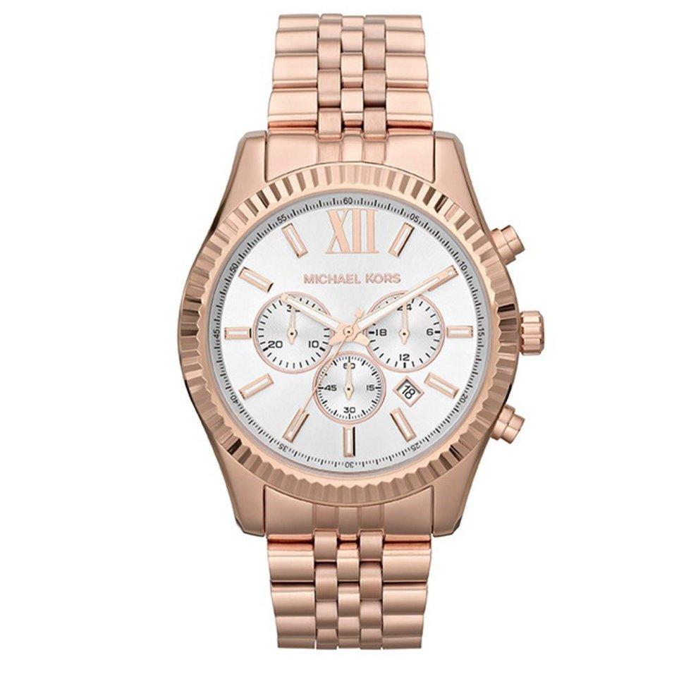 Michael Kors Ladies Lexington Chronograph Watch Rose Gold Bracelet Dial MK8313