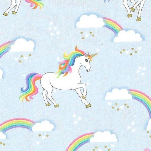 Fat Quarter Unicorns Rainbow No Hair Blue Fantasy Cotton Quilting Sewing Fabric