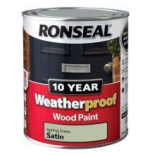 Ronseal 10 Year Weatherproof Exterior Wood Paint 750ml - SATIN Spring Green