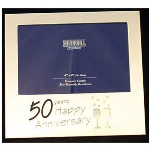"50th Anniversary Gifts; Satin Silver 6"" x 4"" Frame by Shudehill giftware"