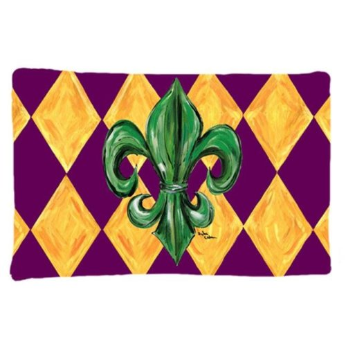 20.5 x 30 in. Mardi Gras Fleur De Lis Purple Green and Gold Moisture Wicking Fabric Standard Pillow Case