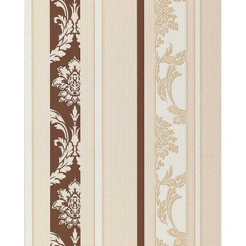 EDEM 053-23 wallpaper textured baroque stripes brown white | 5.33 sqm (57 sq ft)