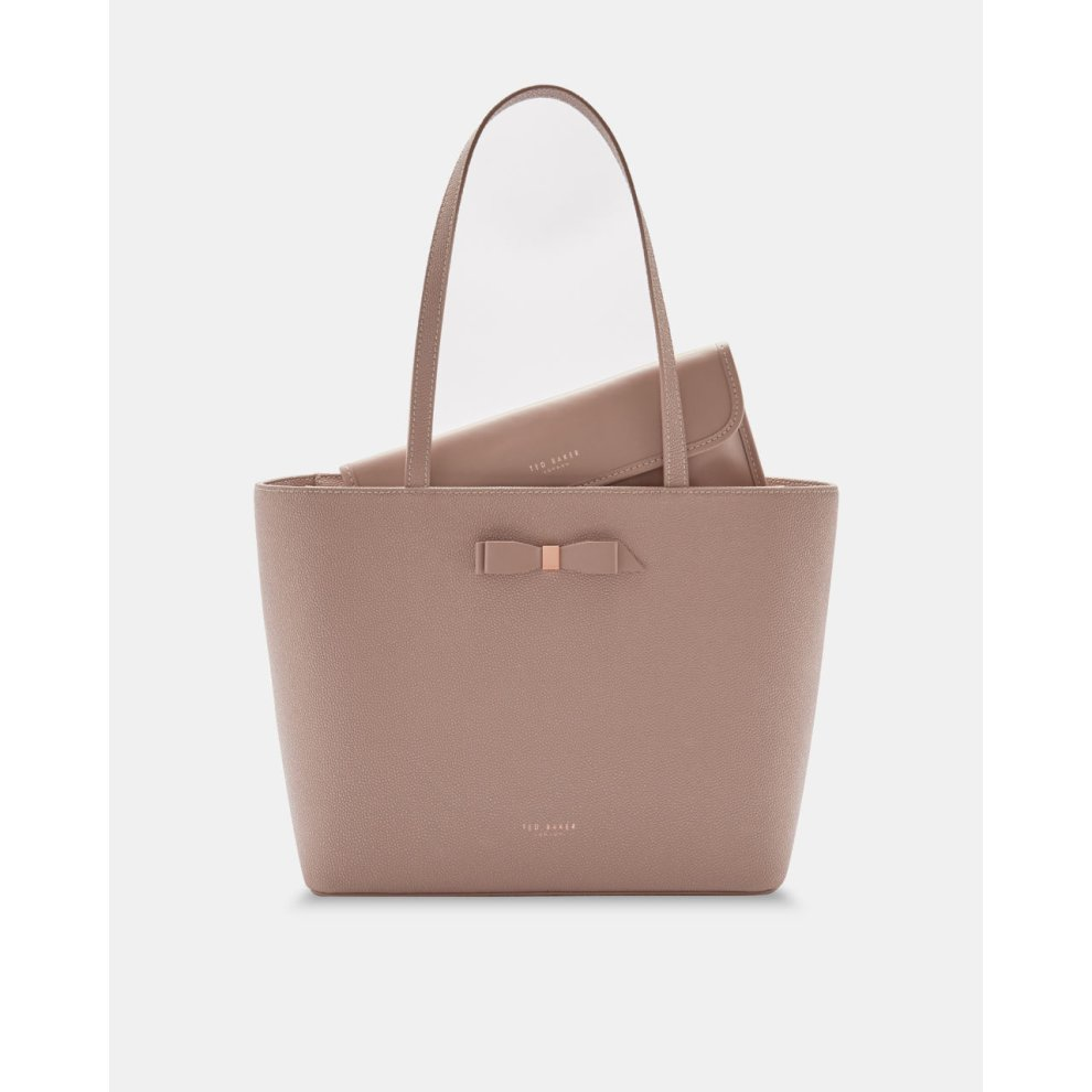 87372edc6dea6 JJESICA BOW DETAIL LEATHER SHOPPER BAG TAUPE on OnBuy