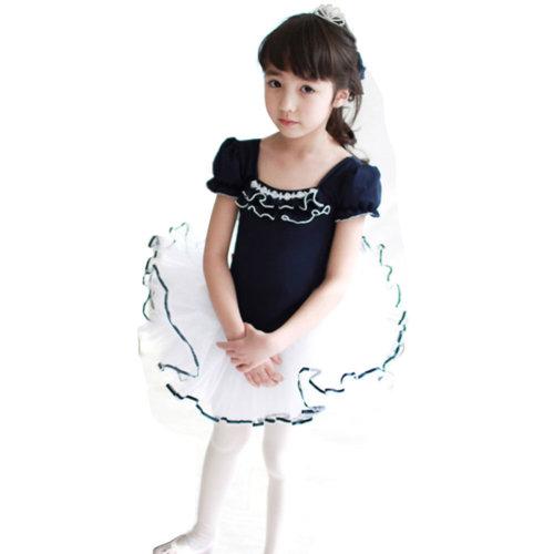 [NAVY]Short Sleeve Flower Cute Kid Ballet Dress Child Ballet Leotard Tutu, 110cm