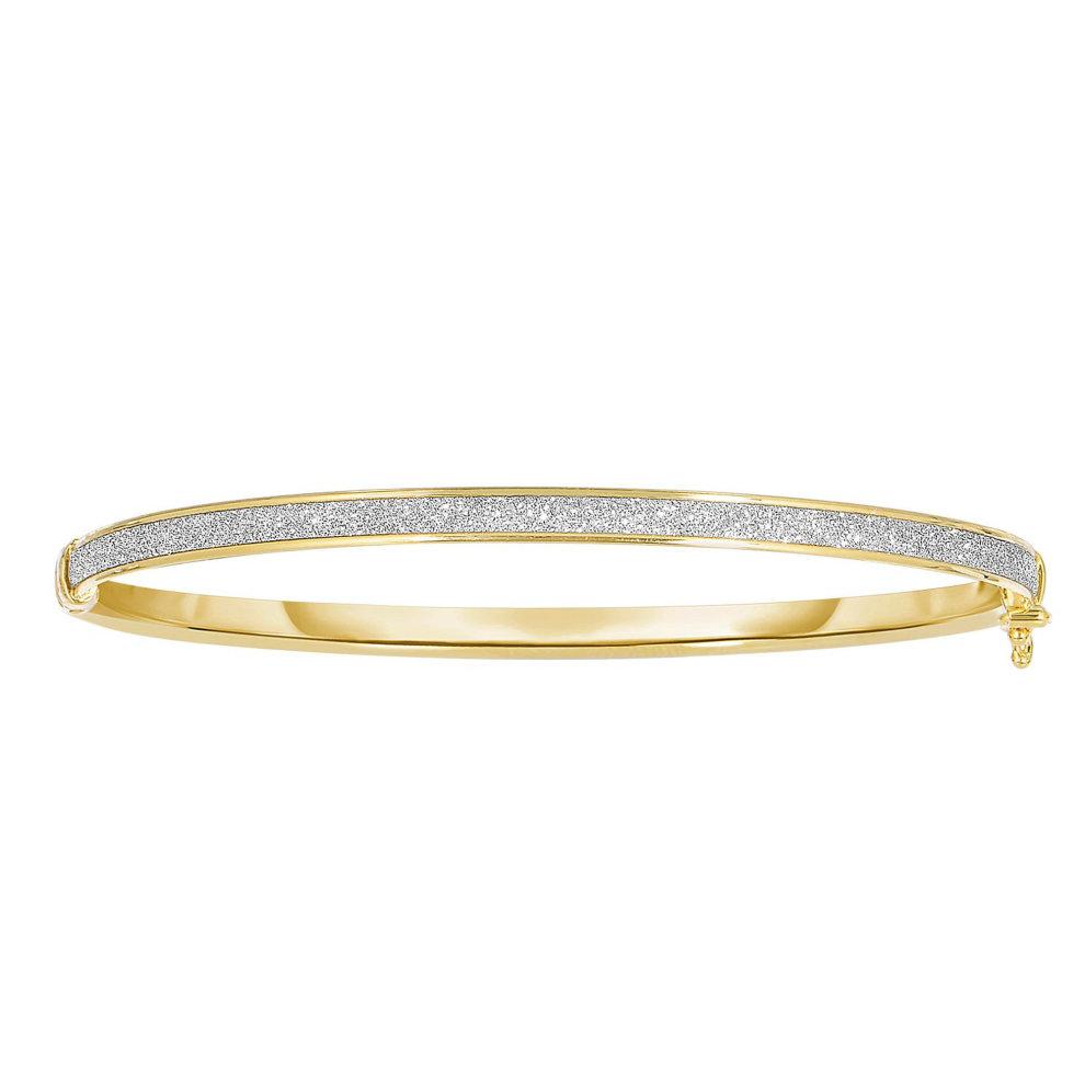02a1e2b2808 14k Yellow Gold Shiny Oval Shape White Glitter Bangle Bracelet, 7.25