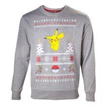 Pokemon Mens Dancing Pikachu Christmas Jumper Large Grey Model. SW504573POK-L