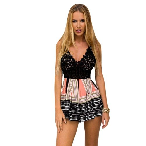 Jumpsuits For Women 2018 Lace Printing V Neck Strap Sleeveless Playsuit  Rompers Macacao Feminino #GB0
