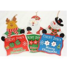 Countdown To Christmas Hanging Plaque Reindeer Santa Snowman