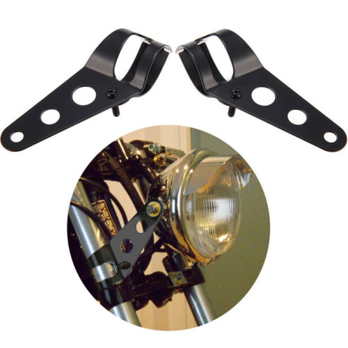 2pcs Motorcycle Headlight Bracket Fork Mount Bracket For Cafe Racer Rack Black