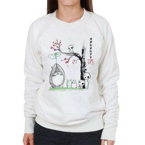 (Large, White) Studio Ghibli Growing Trees Sumie Totoro Women's Sweatshirt