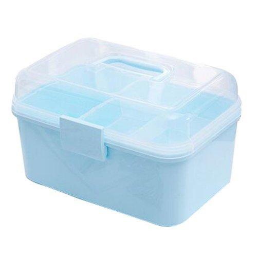 Portable Handheld Family Medicine Cabinet First Aid Kit Storage Box Light Blue