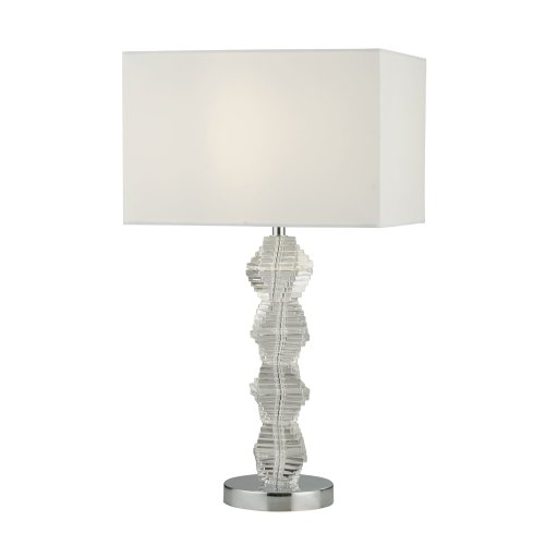 Searchlight Malinda 1 Light Table Lamp Chrome And Glass With White Shade