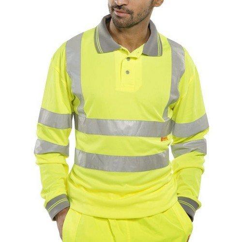 Click BPKSLSENSYXXL Hi Viz Yellow Polo Shirt Long Sleeve EN471 XXL
