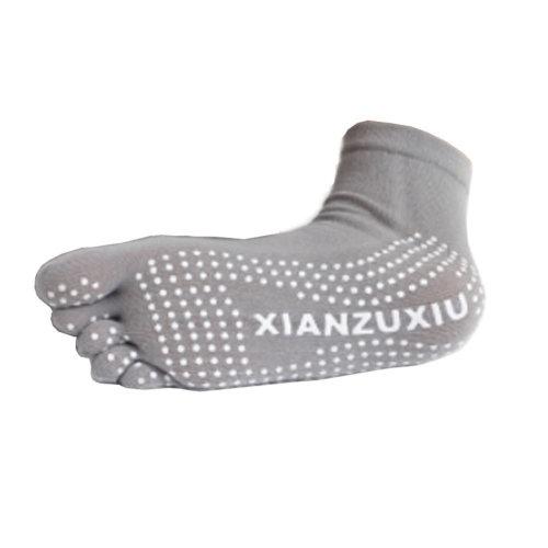 Women's Non Slip Full Toe Yoga Socks With Grip 2 Pairs Set,Grey