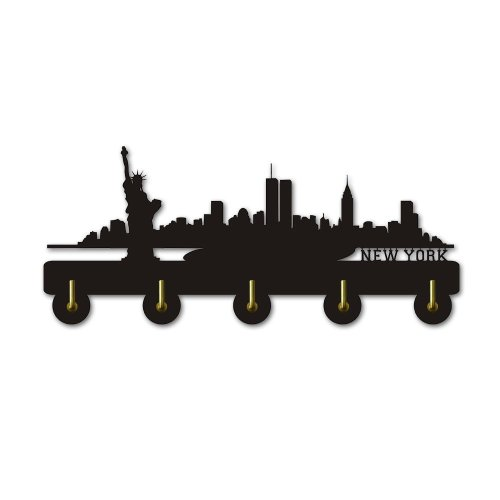 New York Skyline Silihouette Coat Hook Creative Wall Art Decor Hanger Home Storage Hooks & Rails