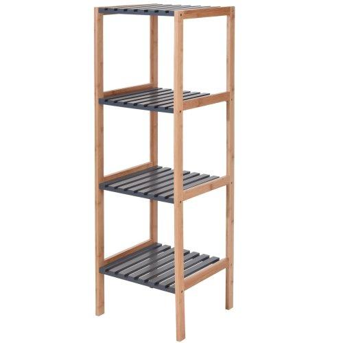 Wooden 4 Tier Bamboo Bathroom Grey Shelves Rack Storage Organiser Caddy Shelf