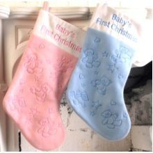 Stocking Decorated Baby's 1st Christmas - Babys Xmas Presents Sock -  christmas stocking babys 1st xmas presents sock