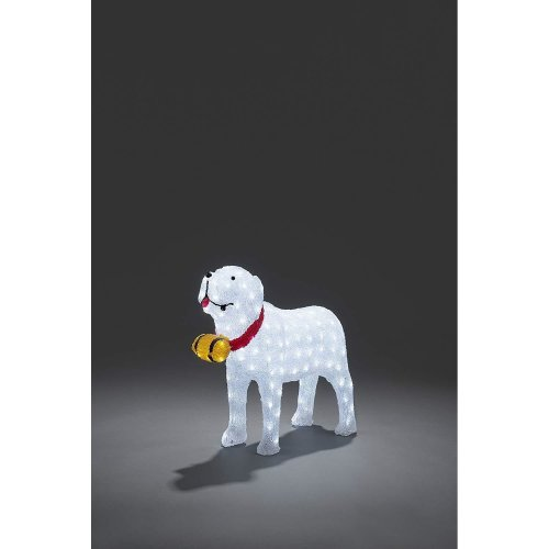Xmas 160 LED Lights Extra Large Acrylic St Bernard Dog w Barrel