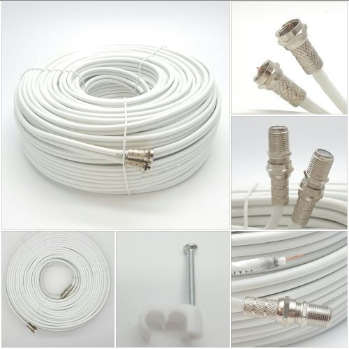 Sky Satellites 50 m Twin Satellite Shotgun Coax Cable Extension Kit with Fitted F Connectors for Sky HD and Freesat - White (50 Meter, White)