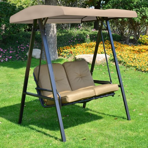 Outsunny 2 Seater Outdoor Garden Metal Swing Chair - Beige