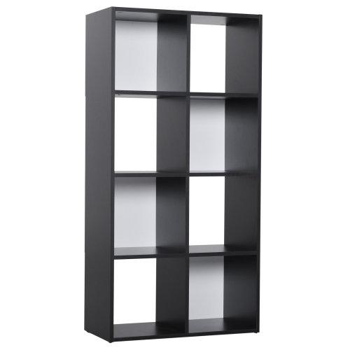 HOMCOM 8 Cubes Bookcase Multi-cells Bookshelf Storage Cabinet Unit Display - Black