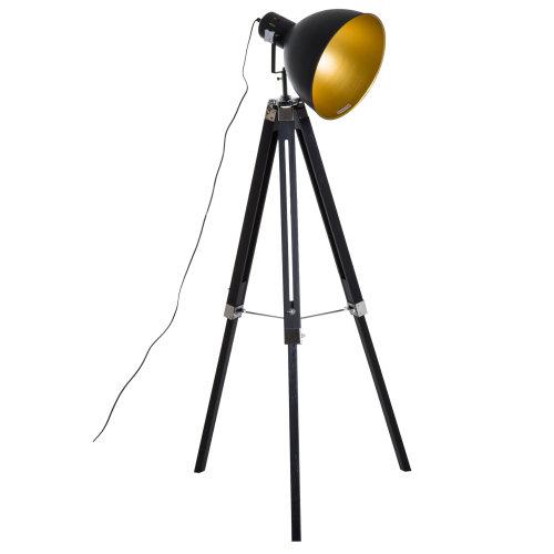 Homcom Height Adjustable Studio Retro Tripod Floor Lamp (Black and Gold)