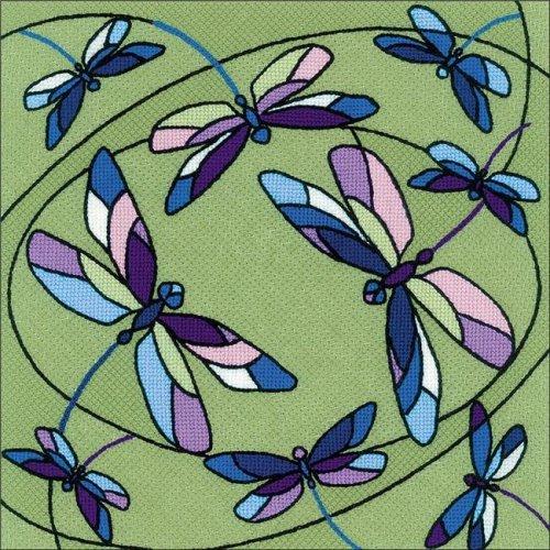 Riolis R1655 Dragonflies Cushion & Panel Stamped Cross Stitch
