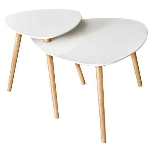 HOMCOM Wooden Coffee Tea Table Triangle End Side Living Room White Two Desktops Sleek