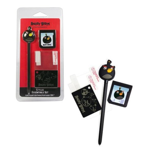 ANGRY BIRDS Stylus Essentials Set (3PC) for Nintendo 3DS, Black Bird (35195)