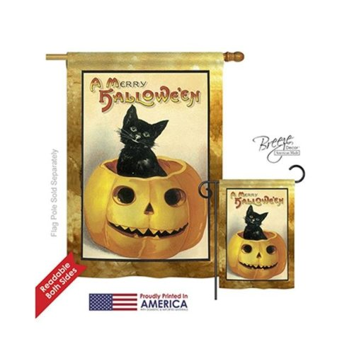 Breeze Decor 12065 Halloween Merry Halloween 2-Sided Vertical Impression House Flag - 28 x 40 in.