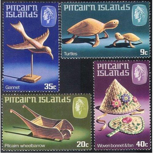 Pitcairn Is 1980 Turtles/ Bird/ Bonnet/ Hat/ Fan/ Handicraft/ Craft/ Animals 4v set (n23452)