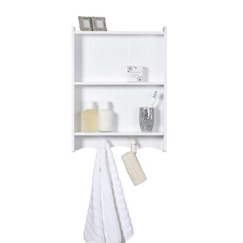 Maya White Wooden Bathroom Storage Shelf, 3 tier, wall mounted