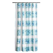12 Hook Bath Time Design Shower Curtain