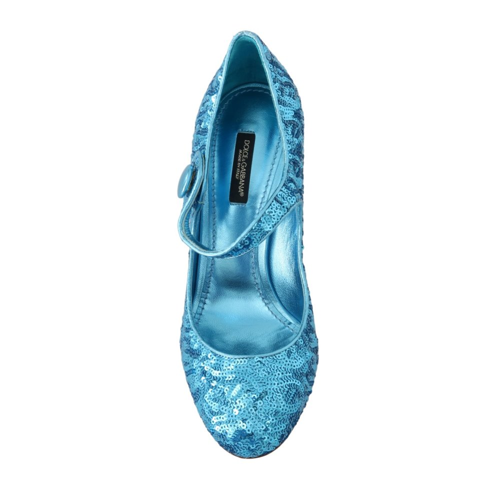 d9dde0c94a ... 2 Dolce & Gabbana Blue Sequined Mary Janes Shoes ...
