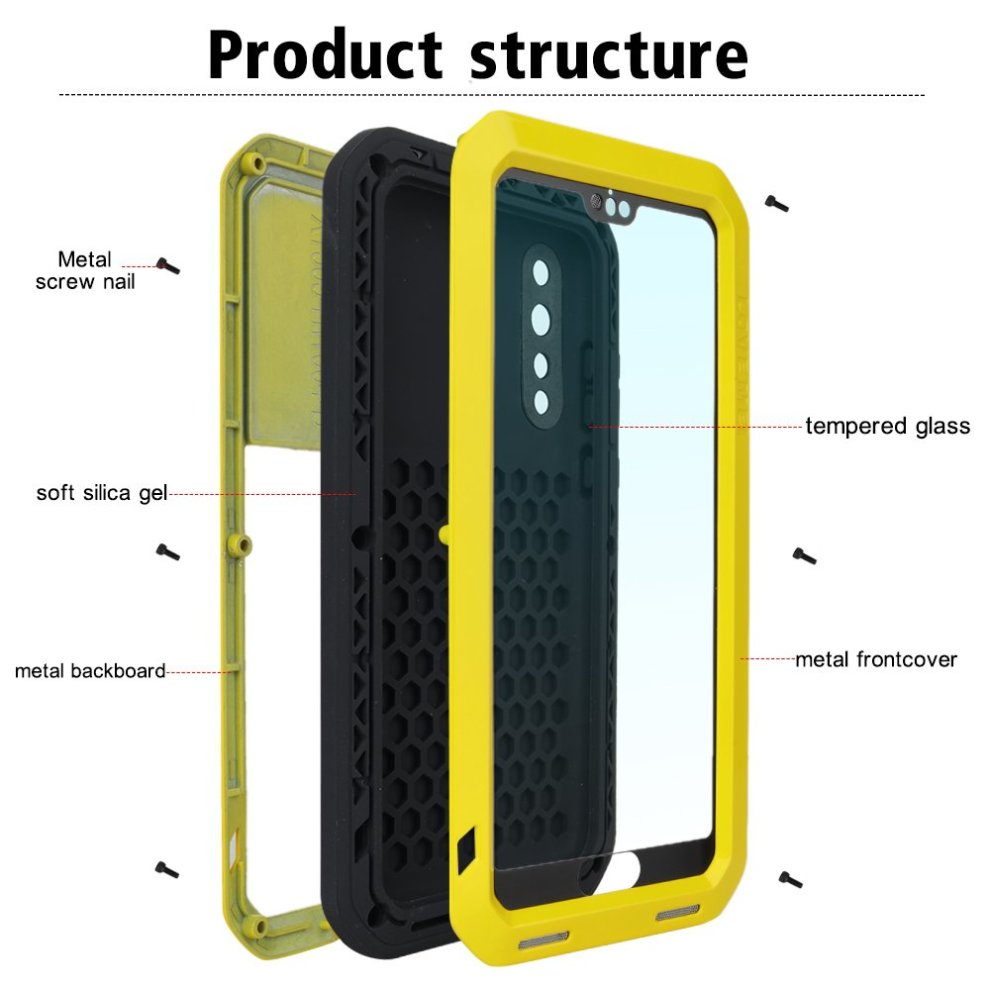 quality design c4c6d e08b8 Huawei p20 pro Case, Eastcoo Armor Tank Hybrid Aluminum Metal Bumper Heavy  Duty case with Gorilla Glass Screen protect Extreme Hybrid Shockproof...